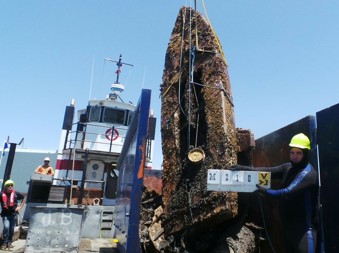 An old boat removed from the bay floor. Photo: Port of San Diego
