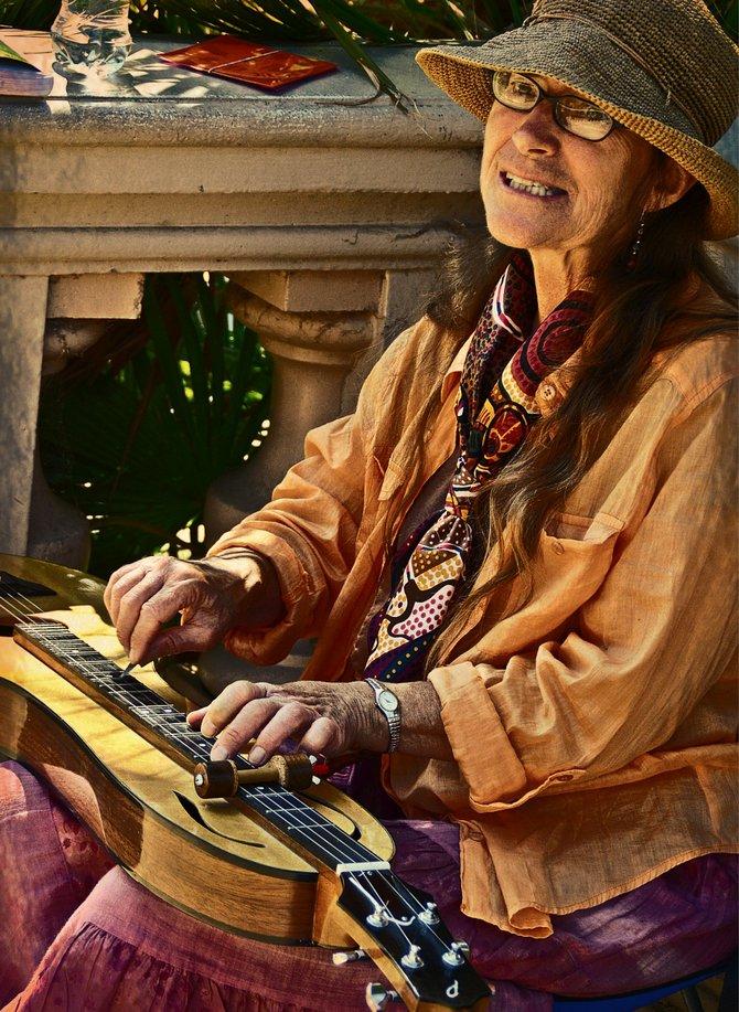 Annie Rettic, musician playing at Balboa Park