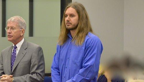 Attorney Warwick w Tim Lambesis in court. Photo Weatherston