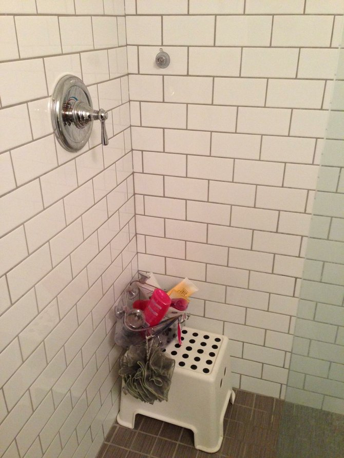The remains of our shower caddies