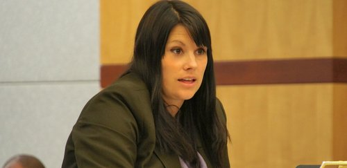 "Defense attorney Jill Kovaly suggested the door pounding was a ""tax"" event. Photo Weatherston."