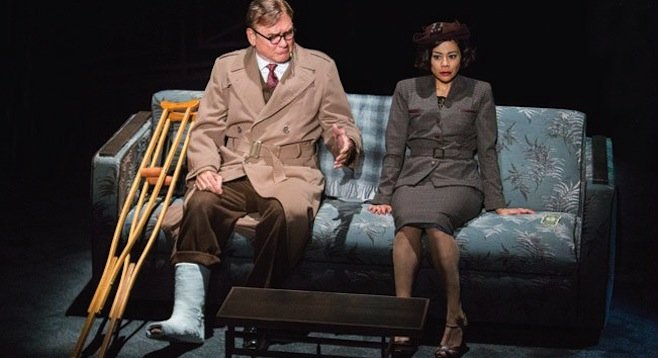 Murphy Guyer as Herbert Nirlinger and Angel Desai as Phyllis Nirlinger in the San Diego  premiere of Double Indemnity.