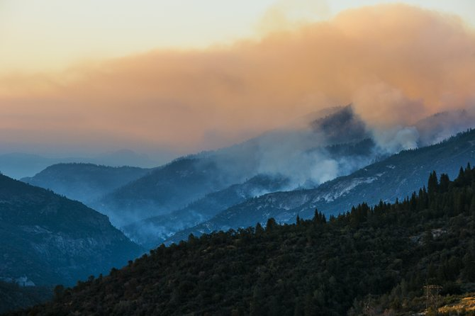 Overlooking a 7000-acre forest fire burning through the Sierra mountains.
