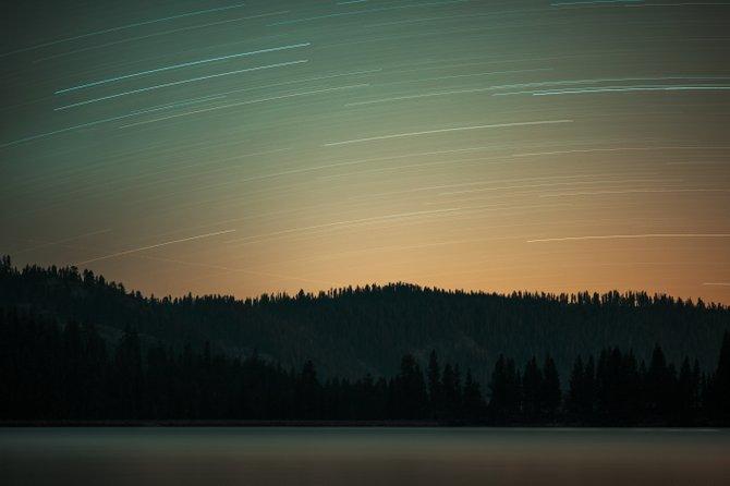 Star trails over Huntington Lake, CA.