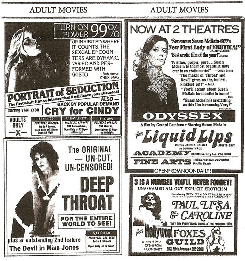 (5-29-77 ads for the San Diego 'Cats, as well as the adult features then also screening at the Guild, the Fine Arts, and North Park's Academy Theater, where cult rock star Gary Wilson - famed for his DIY album You Think You Really Know Me - was working at the time)