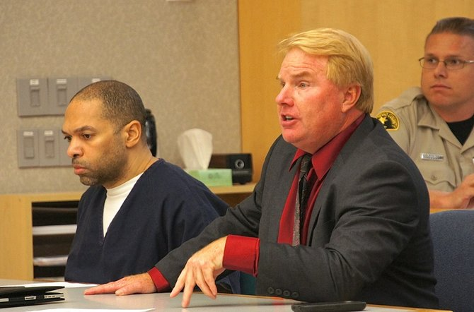 Defendant Perez and attorney Jeff Reichert in court. Photo Weatherston.