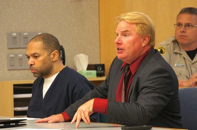 Defendant Perez and attorney Jeff Reichert in court. Photo Weatherston.