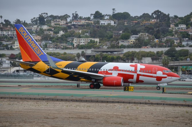 Colorful Southwest Airlines plane at San Diego Int'l Airport.