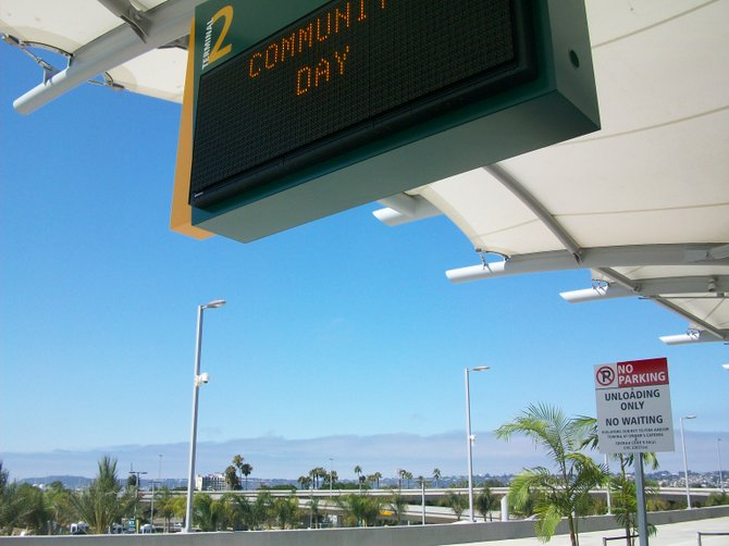 Looking toward Point Loma at new Terminal 2 expansion of San Diego's Airport downtown.