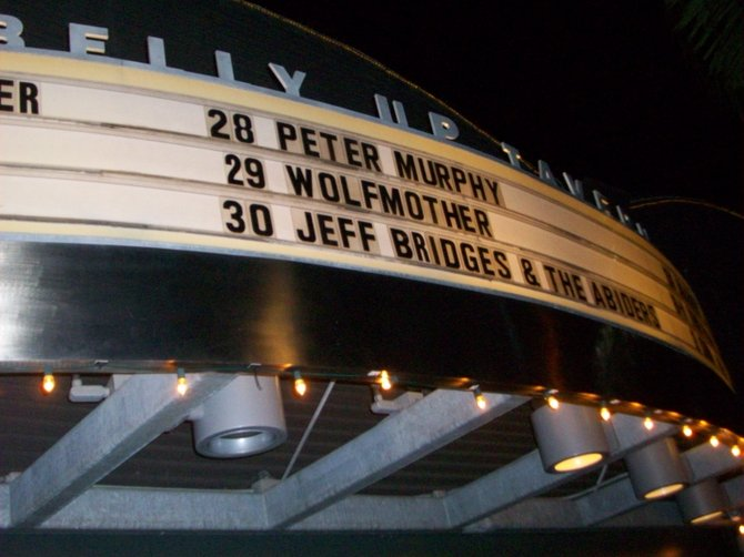Belly-Up marquee in Solana Beach,