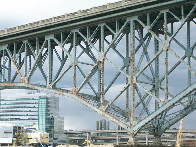 Rusty bridge in moisture-laden Portland, Oregon.
