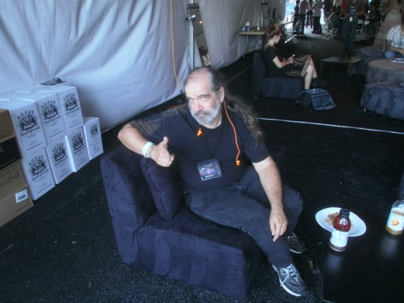 Photographer Steve Covault has the tables turned, in the mess tent. Photo by Bart Mendoza.