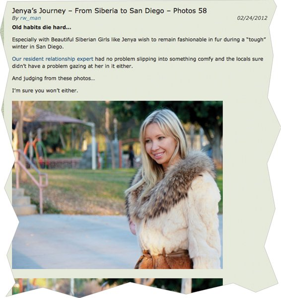 The site Russianwomentruth.com features Jenya's journey from Siberia to San Diego.
