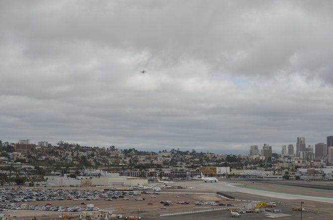 San Diego International Airport  runway on a cloudy day.