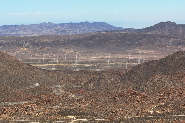 From the Desert View Tower in Jacumba, one can see a few of the Ocotillo Express Wind Energy  turbines.