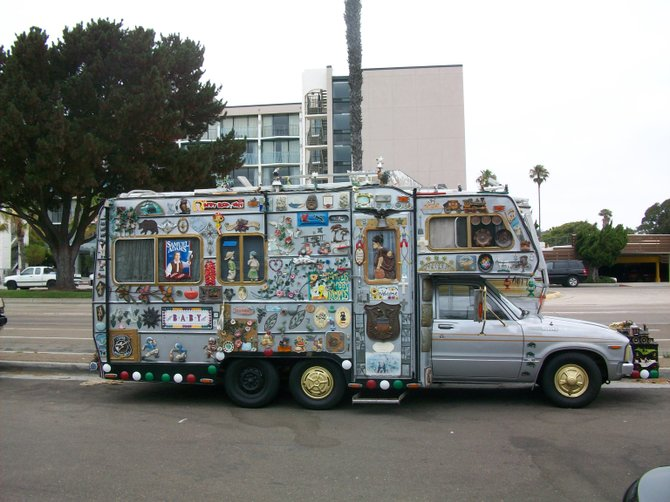 Interesting decorated truck parked on North Harbor Drive in Point Loma.
