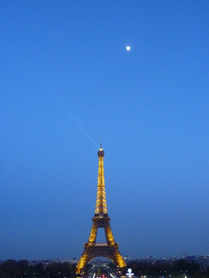 eiffel tower and the moon