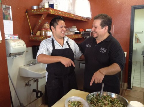 Father and son argue over the ceviche