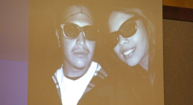 Ruben Anthony Cepeda w his pregnant girlfriend, evidence photo shown to jury. Photo Eva.
