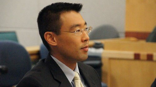 Prosecutor Keith Watanabe has charged the defendant with 2 murders, for deaths of mother and fetus.  Photo Weatherston.