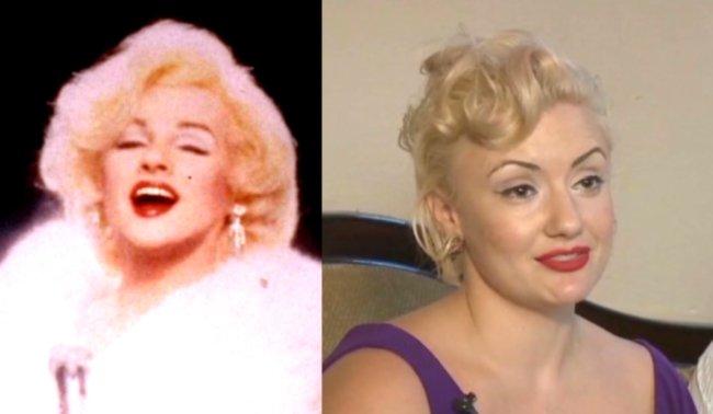 Marilyn Monroe impersonator, Jim Bailey, as Marilyn Monroe impersonator, Emily Gilbert.
