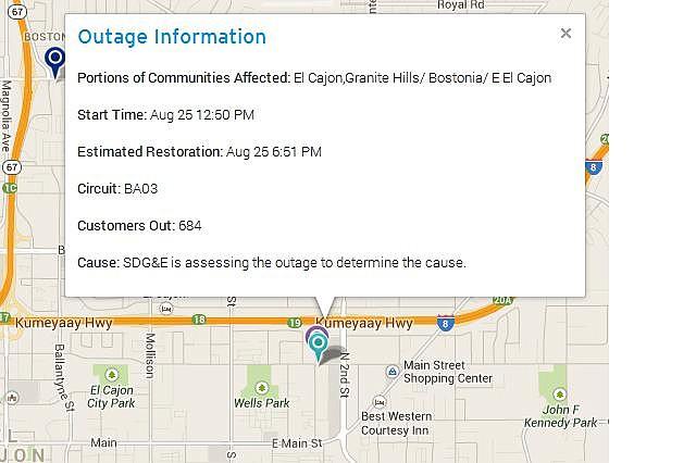 El Cajon Outage Information