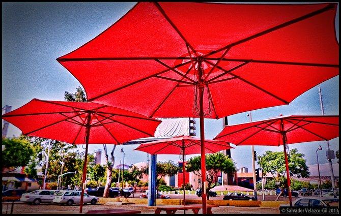 Neighborhood Photos TIJUANA,BAJA CALIFORNIA Red umbrellas in Zona Rio ,Tijuana /Sombrillas rijas en Zona Rio,Tijuana.