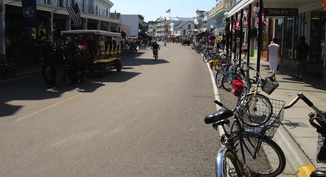 Beach cruisers are a common sight on Main Street.