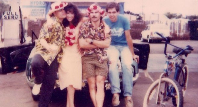 91X crew of 1987: Oz Medina, Susan DeVincent, Billy Bones, and Wreckless Erik