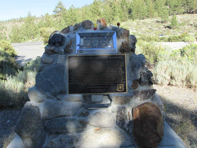 California's only highway monument with a slot machine embedded in the concrete.