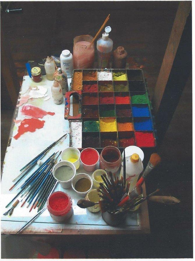 Father Pefkis's paints.