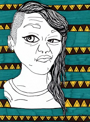 Sharpie self-portrait by Lisa Mendez