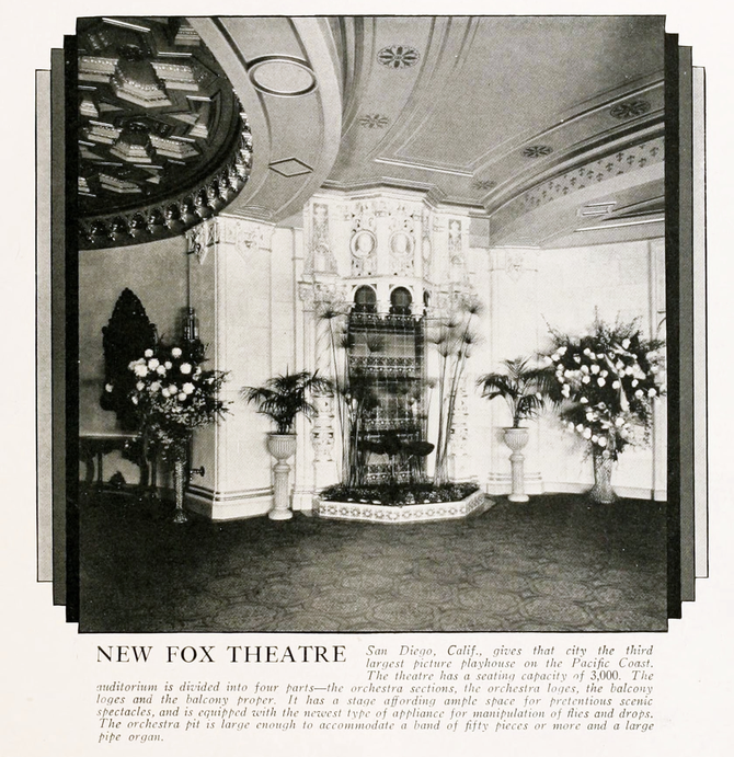 At the time it was built, the 3,000 seat Fox Theatre San Diego was the third largest picture palace on the Pacific Coast.