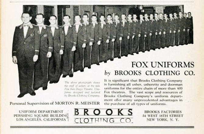 MOTION PICTURE NEWS - FOX THEATRE - December 28, 1929. Tailored with a wider chest and deeper armholes for ticket-tearing ease.