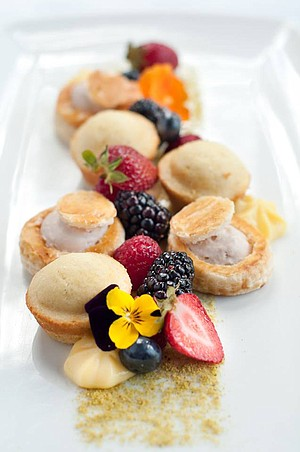 Brandon Hernandez applauds A.R. Valentien's elegant desserts, such as these Meyer lemon baby cakes.