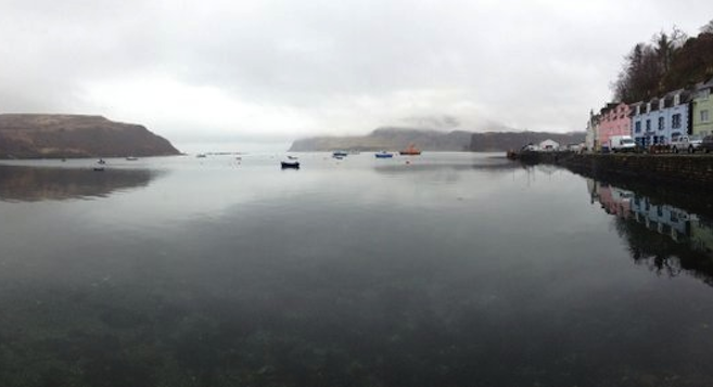 Portree Harbour, Isle of Skye. Breakfast on the stillest water on earth. A sneeze would cause a tsunami.