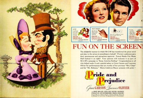 """THE FILM DAILY - July 29, 1940. Greer Garson and Larry Olivier put the fun in """"Prejudice."""" Kapralik's countrified needlepoint virtuosity far outranks anything in this lethal M-G-M prestige picture."""