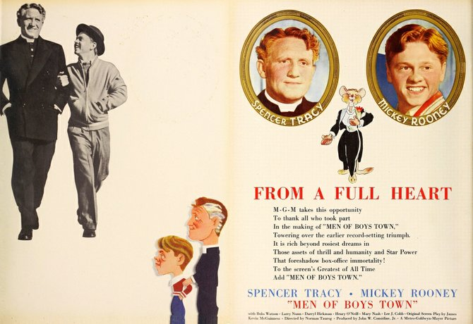 "THE FILM DAILY - June 7, 1940. This saccharine, stinking follow-up to the equally fetid Oscar-darling, ""Boys Town,"" is a must for all connoisseurs of bad cinema. Spencer Tracy and The Mick reprise their respective roles of Priest and puckish hooligan. So treacly you'll need a spigot to drain the sap. Let me give this one the RiffTrax treatment."