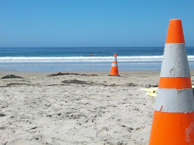 Cones mark Lifeguard territory at La Jolla Shores beach.