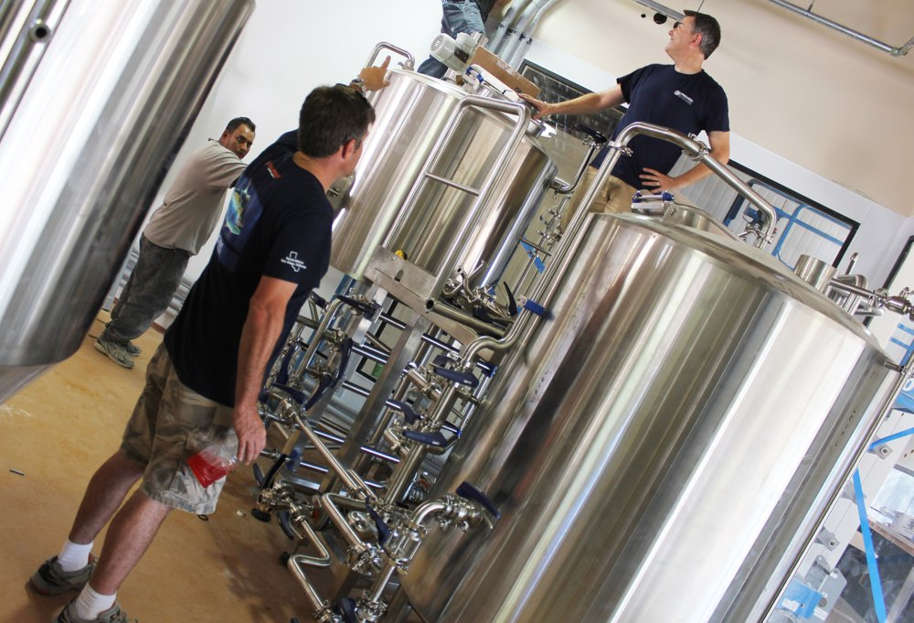 Yuseff Cherney directs set-up of the new R&D brewhouse