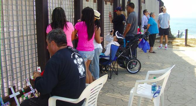 At Friendship Park's border fence, in memory of Micaela Saucedo, September 8, 2013