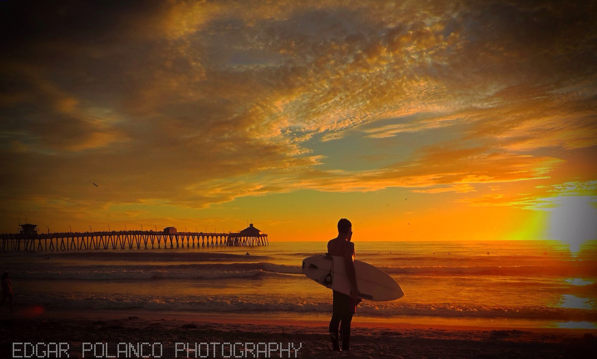 Surfer Enjoying The Sunset In Imperial Beach