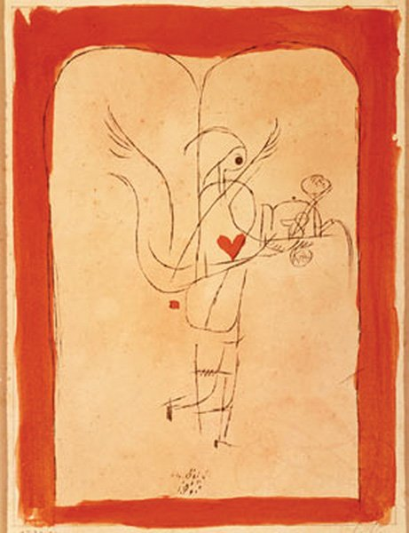 Paul Klee's A Spirit Serves a Small Breakfast (1920), lithograph with watercolor