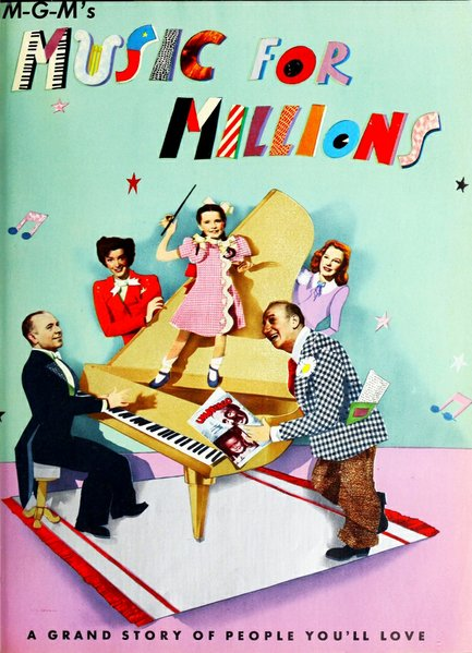 "THE FILM DAILY - February 15, 1945. José Iturbi, Marsha Hunt, Margaret O'Brien, Jimmy Durante, and June Allyson star  ""Music for Millions,"" Henry Koster's wartime musical comedy about an orchestra that's rapidly going all-girl thanks to the draft."