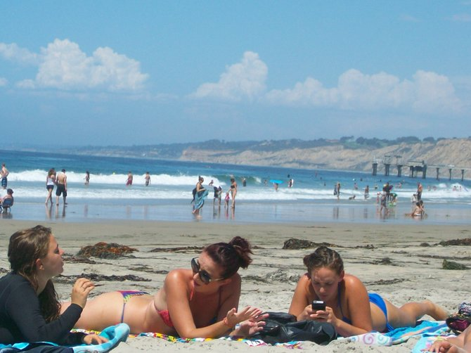 Good times on hot summer days at La Jolla  Shores beach.