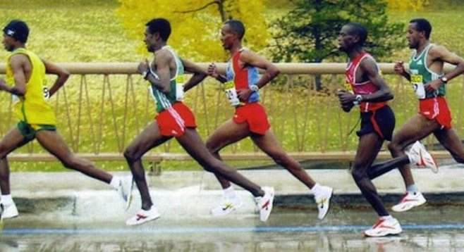 We can all learn to run this way. Notice how the toes of the front foot are all relaxed and dangling from the ankle ready to receive the ground.