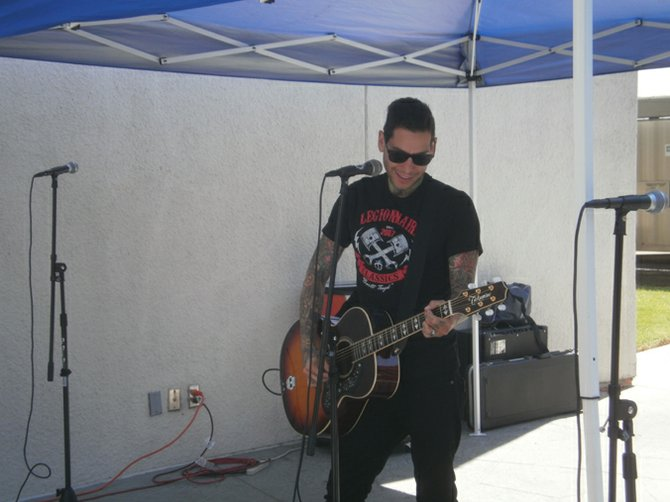 MXPX frontman Mike Herrera performs pool side. Photo by Bart Mendoza.