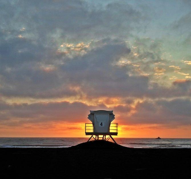 Ocean Beach Lifeguard Tower #4 at Sunset
