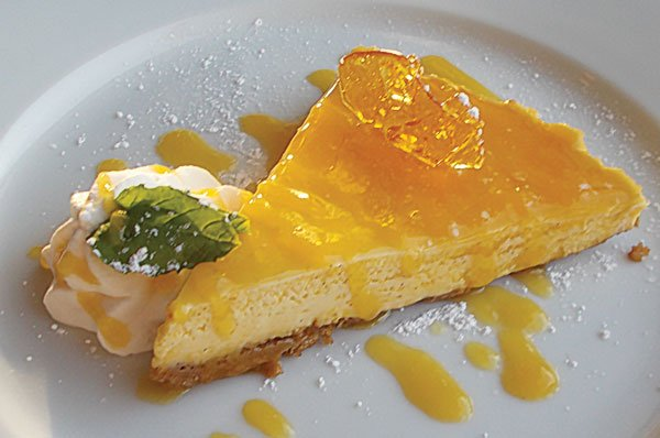 The lilikoi cheesecake with passion-fruit sauce