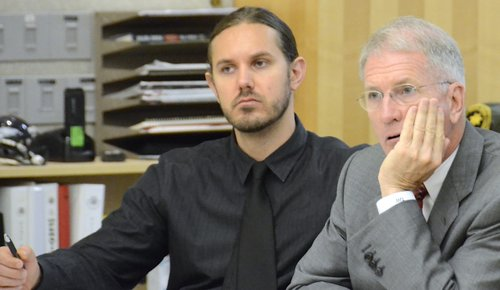 Tim Lambesis n atty listen to evidence. Photo Weatherston.